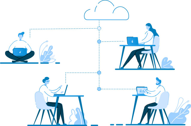 Remote Working Solutions & IT Support Illustration